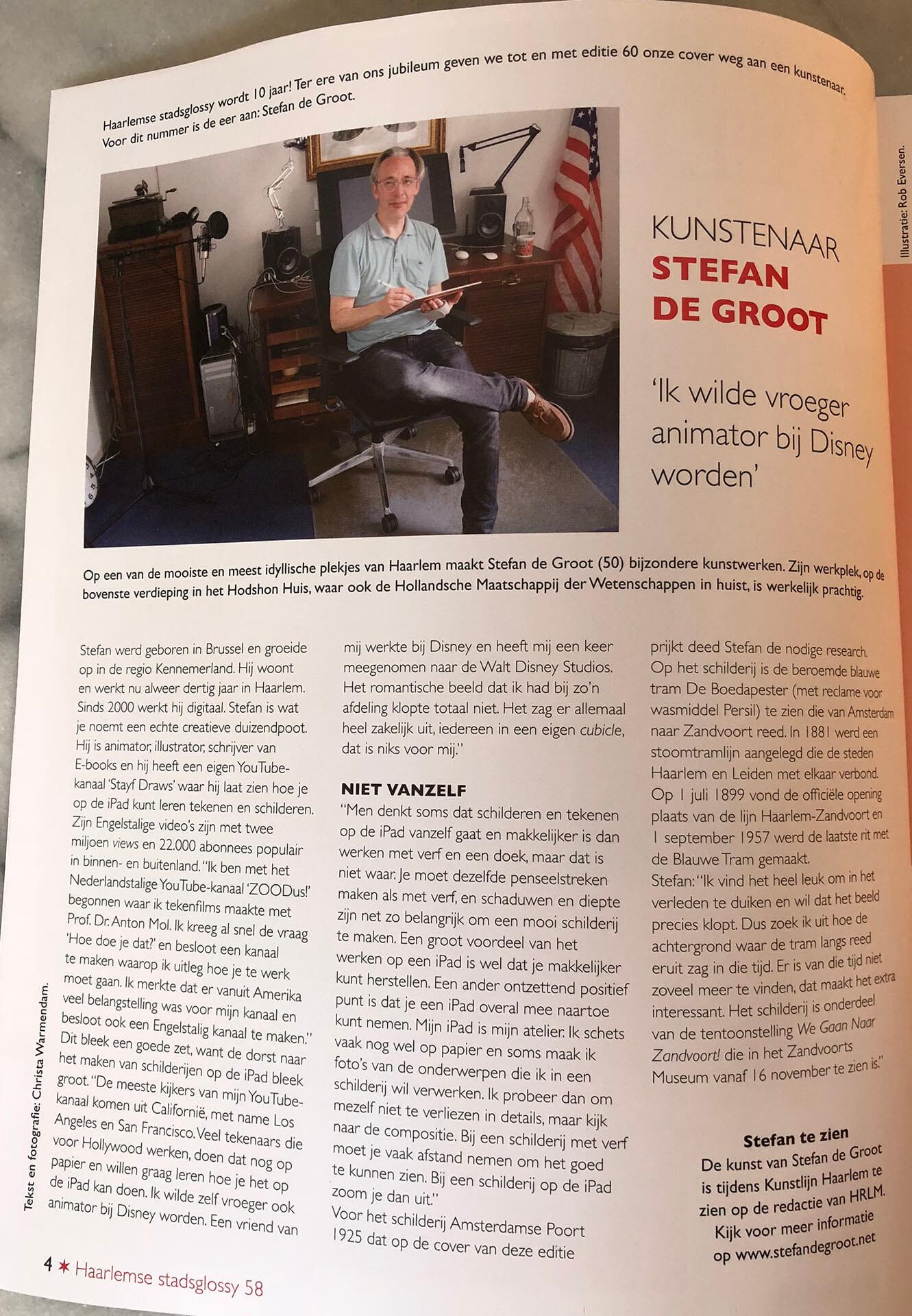 Haarlemse Stadsglossy interview Stefan de Groot