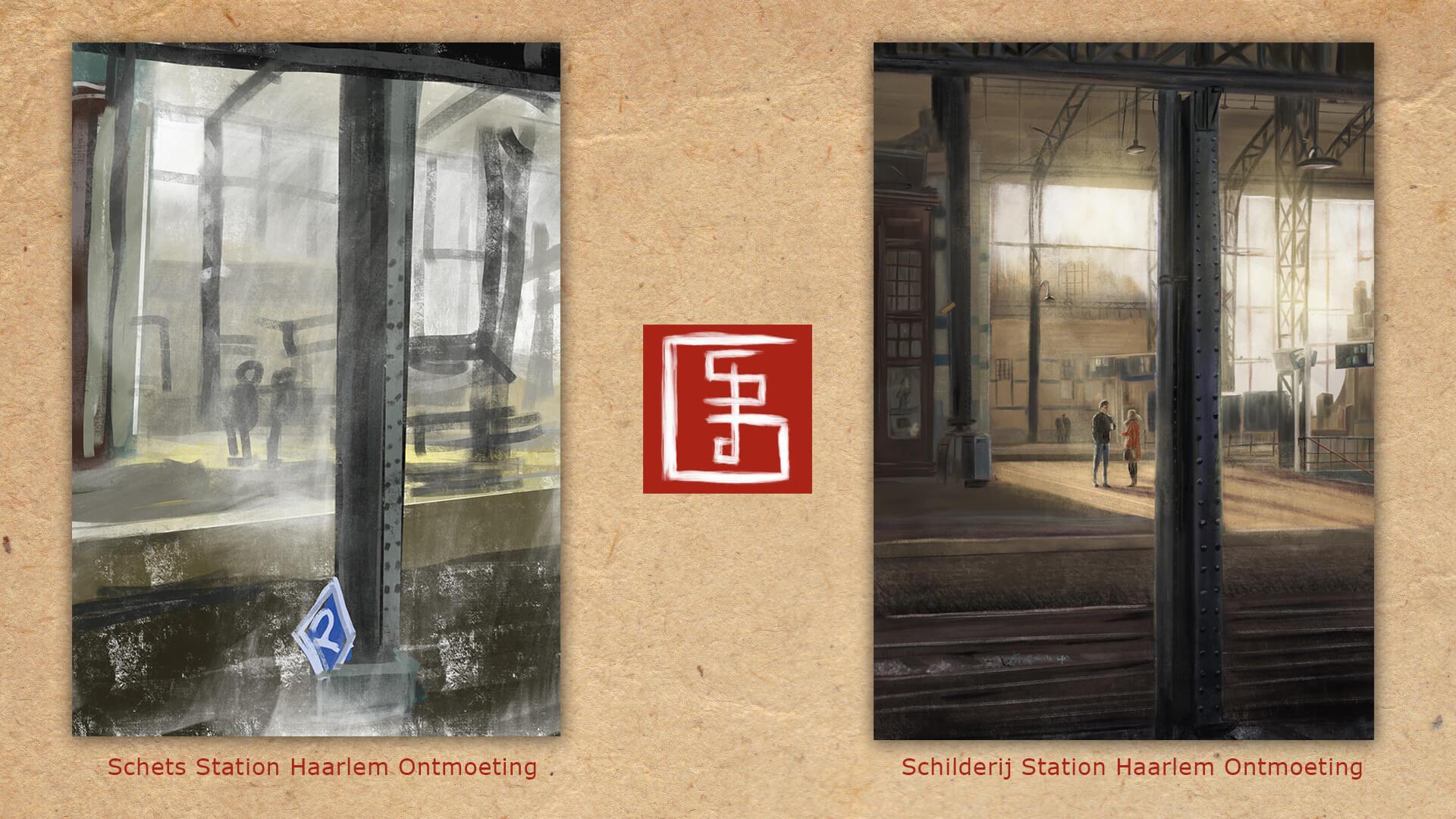Stefan de Groot schilderij Station Haarlem Ontmoeting