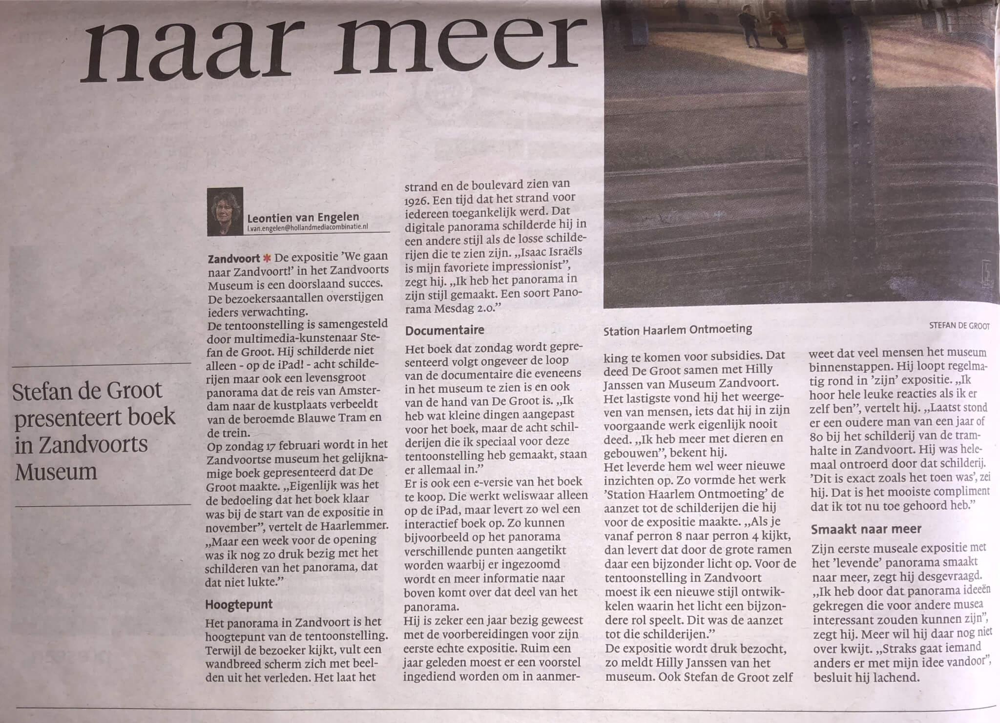 Haarlems Dagblad 14 februari 2019 boekpresentatie 'We gaan naar Zandvoort!'