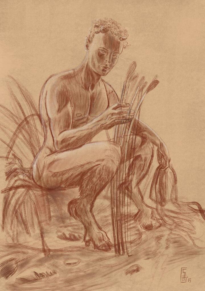 Stefan de Groot Schets Pan en Syrinx