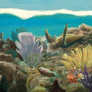 Schilderij Yucatan Koraal door Stefan de Groot