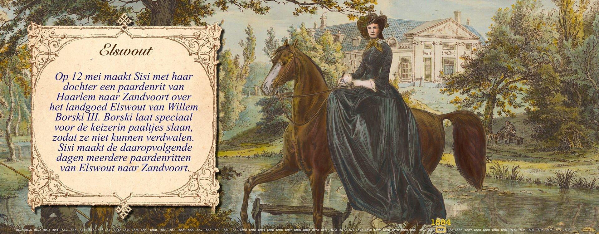 Sisi te paard in Elswout 1884