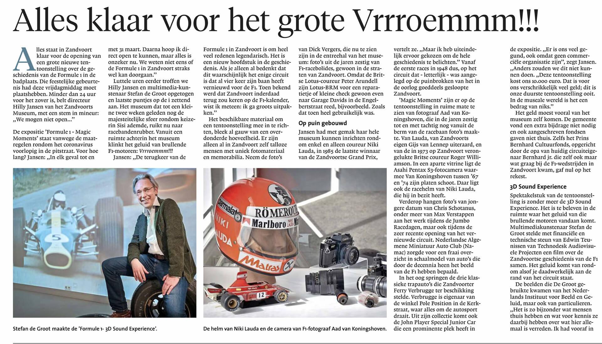 Haarlems Dagblad 14 maart 2020 Stefan de Groot