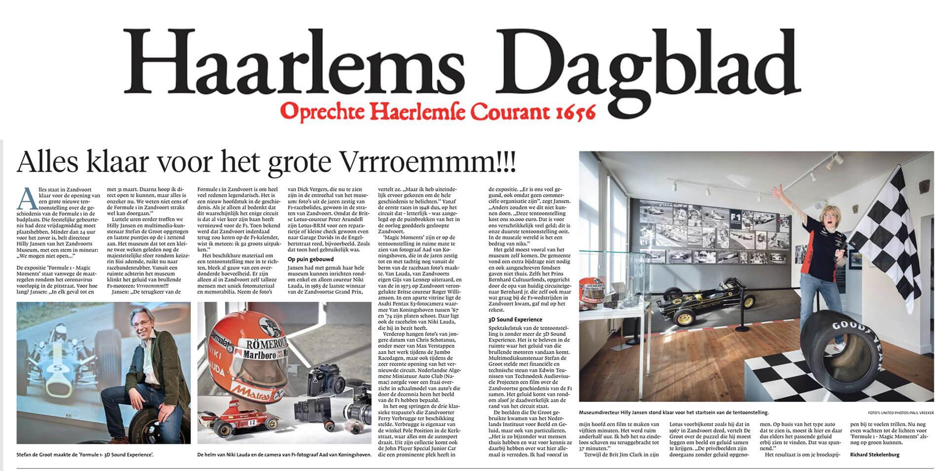 Haarlems Dagblad 14 maart 2020 interview Stefan de Groot