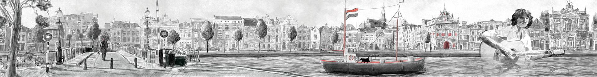Het Spaarne Stroomt panorama va het Spaarne door Stefan de Groot