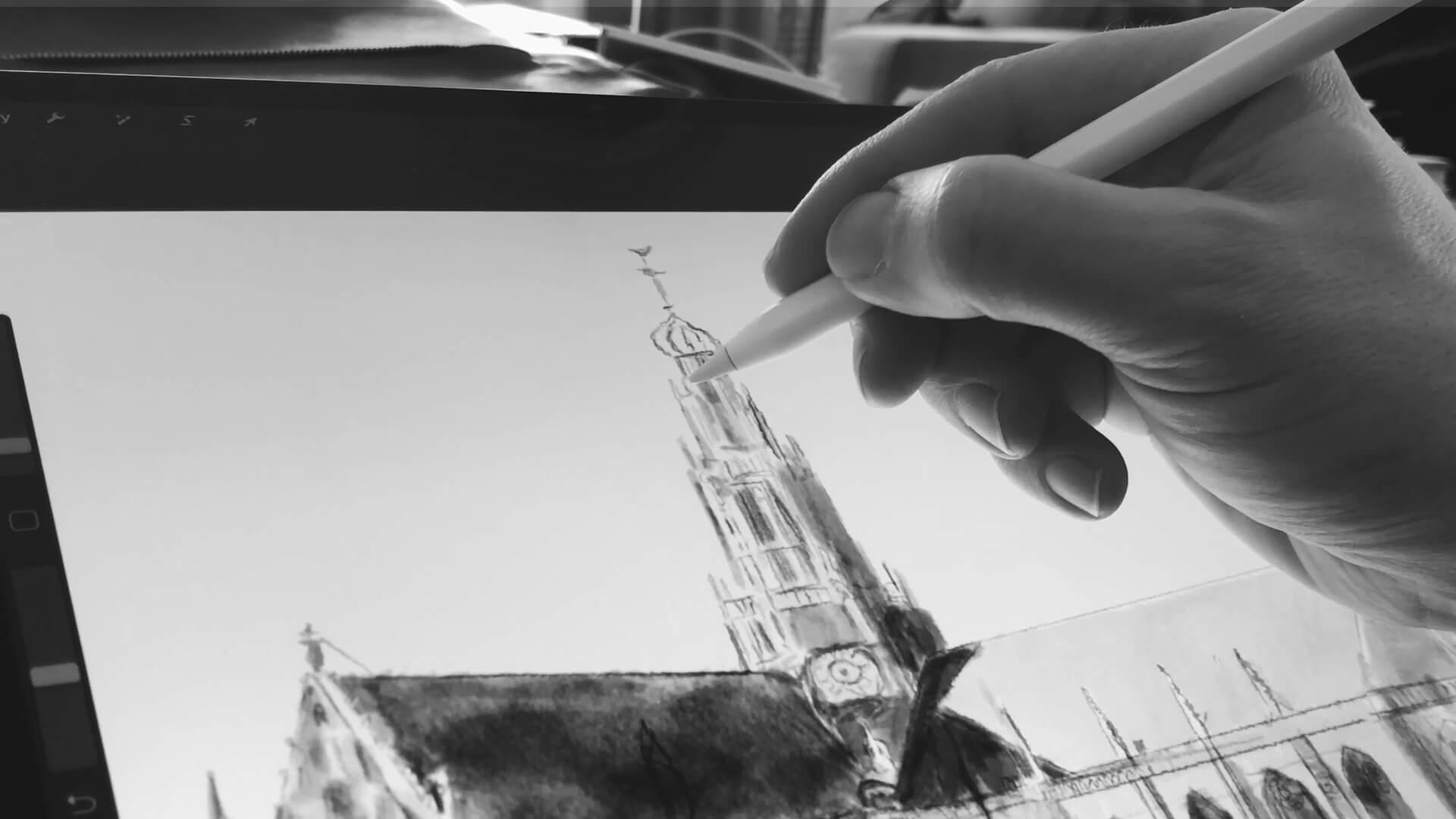 Stefan de Groot schilderen op de iPad