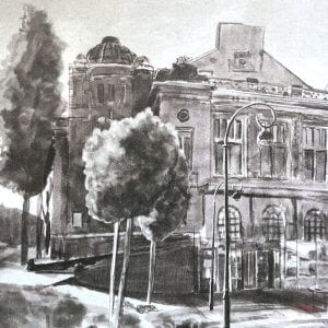 Haarlem Stadsschouwburg. Aquarel door Stefan de Groot voor Museum Haarlem